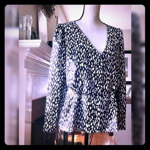 J. Crew Silk Crepe Peplum Button Down Blouse NWOT